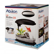 """Aqueon MiniBow LED Aquarium Kit 2.5 Gallon White 11.5"""" x 7.63"""" x 12.5"""""""
