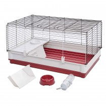"""Midwest Wabbitat Deluxe Rabbit Home White, Red 39.50"""" x 23.75"""" x 19.75"""""""