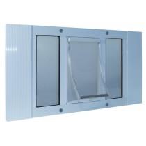 "Ideal Pet Products Aluminum Sash Cat Flap Pet Door Small White 1.25"" x 12.38"" x 23"""