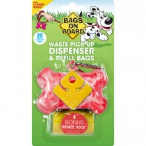 Bags on Board Waste Pick-Up Dispenser and Refill Bags with Dookie Dock 30 bags Pink