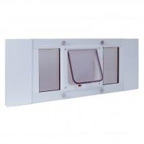 "Ideal Pet Products Aluminum Sash Cat Flap Pet Door Small White 1.25"" x 10.63"" x 33"""