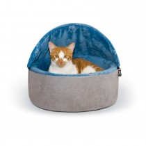 """K&H Pet Products Self-Warming Kitty Bed Hooded Small Blue/Gray 16"""" x 16"""" x 12.5"""""""