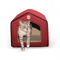 """K&H Pet Products Unheated Indoor Pet House Red / Tan 16"""" x 15"""" x 14"""""""