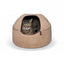 "K&H Pet Products Kitty Dome Bed Unheated Small Tan 16"" x 16"" x 12"""