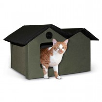 """K&H Pet Products Unheated Outdoor Kitty House Extra Wide Olive / Black 21.5"""" x 26.5"""" x 15.5:"""