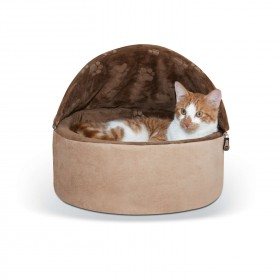"""K&H Pet Products Self-Warming Kitty Bed Hooded Small Chocolate/Tan 16"""" x 16"""" x 12.5"""""""