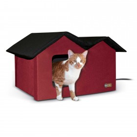K&H Pet Products Outdoor Kitty House Extra-Wide Heated Red 21.5'' x 14'' x 13''